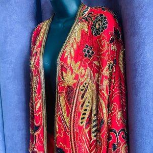 Vintage 70s JUDITH ANN Silk Sequin Beaded Duster